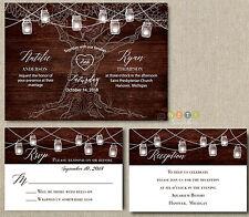 100 Wedding Invitation set Rustic Wood Mason Jar lights with Envelopes