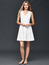 Gap White Linen V-Neck Fit & Flare Dress 0