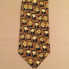 Hugo Boss Flowers Floral Neck Tie 100% Silk Made in Italy - Blue Brown Yellow