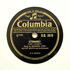 "BARBARA LYON ""Stowaway / The Penguin Song"" COLUMBIA DB-3619 [78 RPM]"