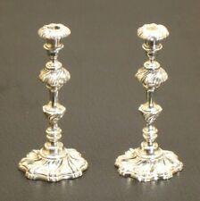 Obadiah Fisher Sterling Pair of Candlesticks - Artisan Dollhouse Miniature