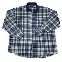 Wrangler Mens Size XXL 2XL Blue & White plaid Long Sleeve Western Cowboy Shirt