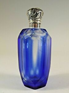 SILVER TOPPED BRISTOL BLUE OVER CLEAR GLASS PERFUME BOTTLE