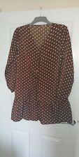 Ladies Brown Polka Dot Dress Size L