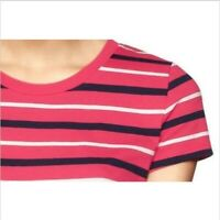 NWT Gap Essential Crew Neck Short Sleeve Striped Tee T Shirt   Pink