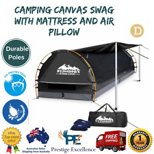 Double Camping Canvas Swag Waterproof with Mattress and Air Pillow Dark Grey
