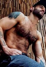 Shirtless Male Muscular Beefcake Hairy Chest Beard Inked Dude PHOTO 4X6 D689