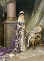 Oil painting V. Makovsky - Noblelady Portrait of Empress Maria Fyodorovna & fan