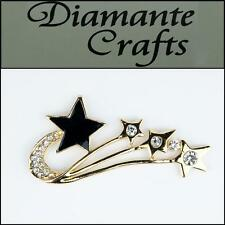 3D Shooting Star Gold Alloy Encrusted Clear Diamantes with Black Enamel 3FST2013