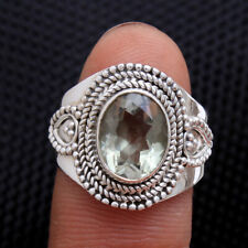 Faceted Oval shape Green Amethyst 925 Sterling silver Jewelry Ring Size us 6