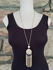 Thalia Sodi Long Lion Gold Faux Pearl Tassel Pendant Necklace Retail $34.50