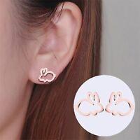 Cute Bunny Rabbit Earrings Lovely Creative Animal Stud Earrings For Women