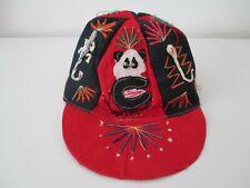 CYCLING CAP ONE SIZE HANDMADE  Applique Embroidery Reptiles Panda COTTON Vtg