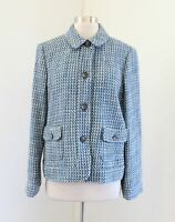 NWT Talbots Womens Blue Gray Tweed Button Front Blazer Jacket Wool Size 12