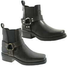 Para Hombre gringos Cowboy Cuero Botines Talle Uk 6 - 12 Negro o marrón m486 Kd