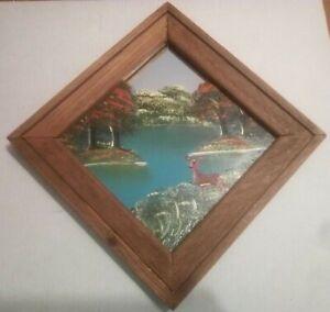 3 pc Painted Mirror Set: Woodlands, Deer, Lake, Trees, Squirrel, Plants, Ducks