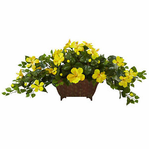Hibiscus In Metal Planter Golden Yellow Blooms Burst Nearly Natural Home Decor