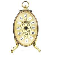 Vintage Linden Alarm Clock Wind Up Gold Tone Filigree West Germany Ornate Face