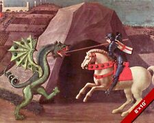 ST SAINT GEORGE SLAYING KILLING THE DRAGON FRESCO PAINTING ART REAL CANVAS PRINT