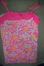 GIRLS SIZE 18 - JUSTICE - WHITE, NEON PINK TANK TOP, SEQUINED RUFFLE - USED
