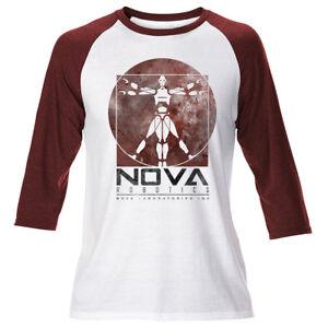 Mens Nova Robotics Short Circuit Johnny 5 Raglan T Shirt Retro Vintage 80s Kids