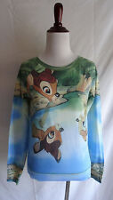 Disney XS Bambi & Female Deer Character Scene Knit Top Reflection Graphic Shirt