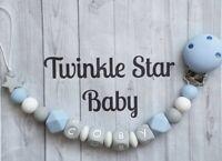 Full Silicone Personalised Dummy Clip Baby Boy Blue White Grey Christening Gift