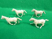 Vintage 4 Marx Vinyl Plastic Harness Wagon Horses  1960's