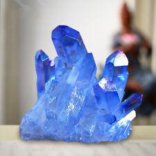 Blue Clear Quartz Cluster Mineral Specimen Crystal Healing Stone Home Decor US
