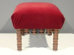 Vintage Maroon Red Velvet Footstool with Wooden Thread Spool Legs Accent
