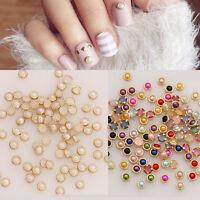 3D Nail Art Decoration Gold Metal Edge Pearl Rhinestones Beads Gems Studs