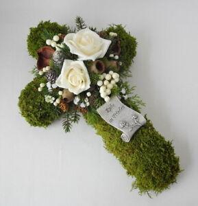 Grabgesteck Grabschmuck ☘ Moos Kreuz Deko wollweiß ☘ Allerheiligen Totensonntag