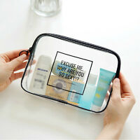 Clear Transparent Plastic PVC Travel Cosmetic Make Up Toiletry Bag Zipper DS7