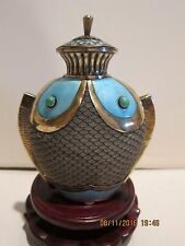 Sterling gilded silver Chinese filigree/ enamel double fish bottle.Lower price