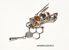 Bee with Honey Baltic Amber Pendant on Silver 925