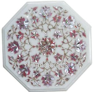 13 Inches Pink MOP Inlay Work Coffee Table Top Marble Side Table Home Furniture