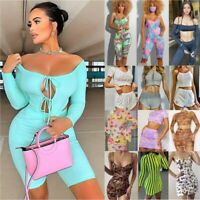 Summer UK Womens Crop Top+Mini Skirt 2Pcs Set Holiday Party Mini Dress Tracksuit