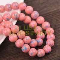 Hot 30pcs 8mm Round Charms Loose Glass Spacer Beads Deep Pink Blue Dots Findings