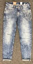 NEW H & M Slim Boyfriend Jeans 25 Distressed Embellished Lace Women's 25 (1/2)