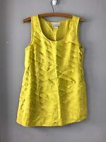 Soft Surroundings Womens Sz Small Layered Yellow sleeveless 100% silk blouse top