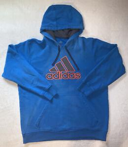 Mens Adidas Hoodie Blue/orange hints sz XL EUC No tears