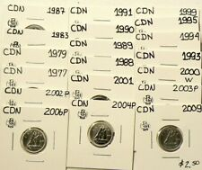 1977 to 2009 Canada 10 Cents Lot of 19 From Sets UNC #5458
