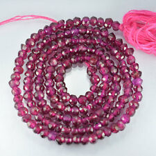25+Cts NATURAL ISRAEL CUT PINK RHODOLITE RONDELL FACETED BEADS 34cm