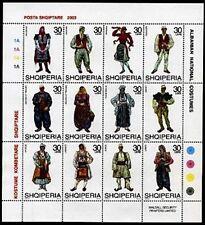 Albania stamps 2003. NATIONAL FOLK COSTUMES. Sheet MNH