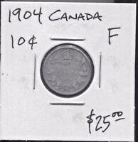 CANADA-BEAUTIFUL HISTORICAL EDWARD VII  SILVER 10 CENTS, 1904 (GOOD DATE) KM# 10