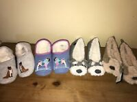 JOULES Cosy Fox & Dog Mule Slippers & Novelty Puppy Ballet Sz S M L Free UK P&P