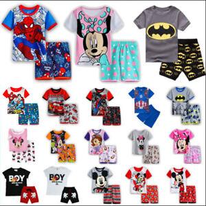 Summer Boys Kids Batman Superman Pyjamas Short Sleeve T-Shirt Shorts Nightwear