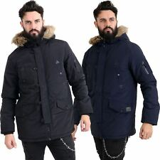 New Mens Fur Hooded Parka Jacket Warm Winter Thick Padded 6 Pockets Parker Coat