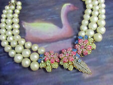 VINTAGE signed Robert DeMario NECKLACE faux BAROQUE pearl SEED BEAD Haskell