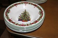 """5 Christopher Radko Traditions Holiday Celebrations 9"""" Rimmed Soup Bowls"""